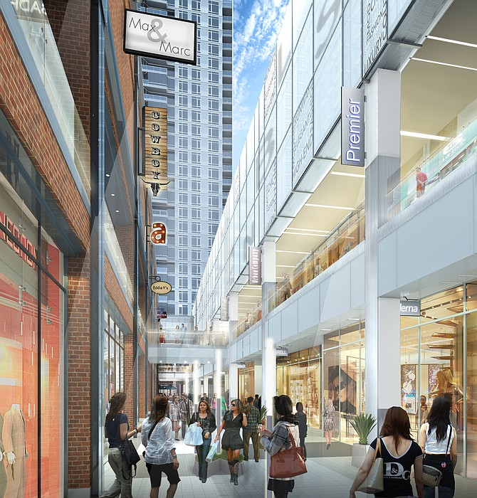 Rendering of the open-air interior of the Ballston Common Mall.