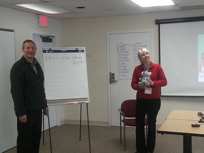 Jamie MacDonald and Leslie Roberts of the Fairfax-Falls Church Community Services Board Wellness and Health Promotion teach a Mental Health First Aid class.