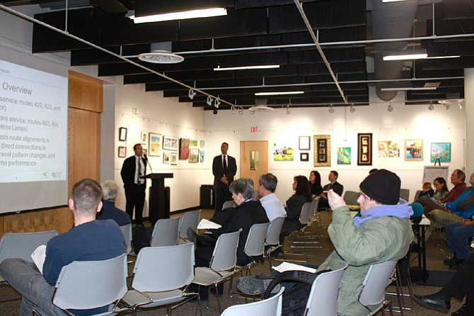 Nick Perfili and Tom Biesiadny with Fairfax Department of Transportation presented information during a public hearing about new Fairfax Connector proposals on Jan 28.