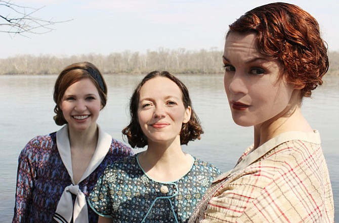 "From left -- Maggie Erwin, Tia Shearer and Carolyn Kashner in Hub Theatre's ""Failure: A Love Story."""