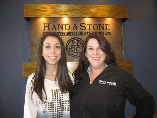 Katie Danver, 20, and her sister Darielle, 25, at the new Reston Hand and Stone Spa located in the South Lakes Village Shopping Center.