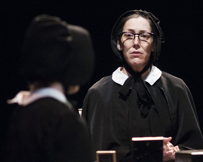 "(From left): Jenny Donovan (Sister James) and Jessica Lefkow (Sister Aloysius) in ""Doubt, a Parable"" at 1st Stage in Tysons Corne"