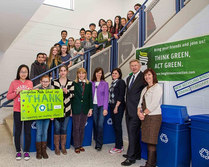 On Feb. 5, Longfellow Middle School celebrated the arrival of new recycling bins, made possible through a grant by the McLean Community Foundation (MCF).