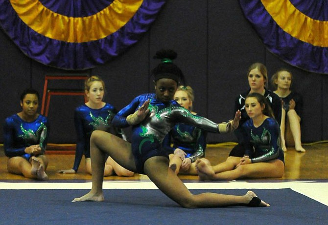 South County gymnast Collea Burgess won the Conference 7 all-around title and helped the Stallions earn their first team championship on Feb. 4 at Lake Braddock Secondary School.