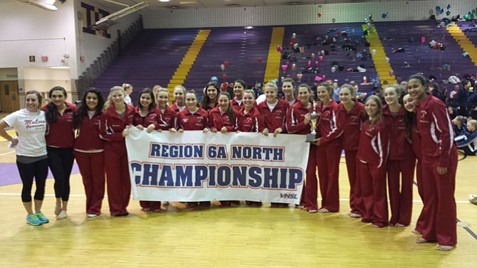 The McLean gymnastics team won the 6A North region championship on Feb. 11 at Lake Braddock Secondary School.