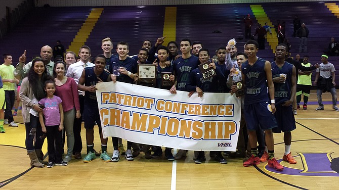 The South County boys' basketball team won the program's first conference title on Tuesday, beating Woodson in the Conference 7 championship game at Lake Braddock Secondary School.