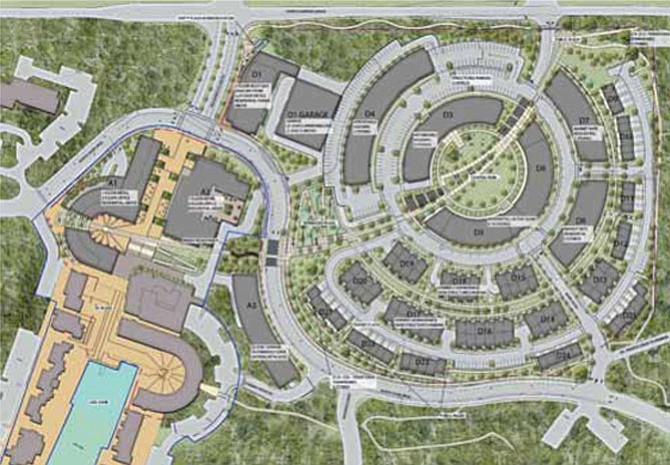 An aerial view of the overall development plan at Lake Anne, set for approval at the Board of Supervisors on March 3.