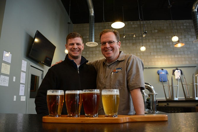 Fair Winds Brewing Company head brewer Charlie Buettner (left) of Burke and founder Casey Jones of Falls Church opened their new facility in Lorton in March 2015.