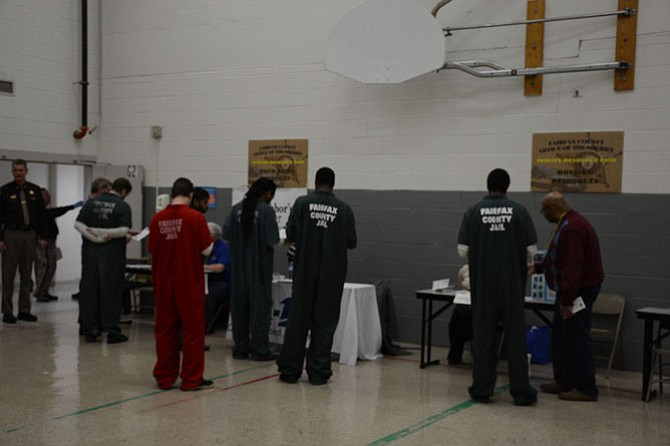 Two hundred inmates of the Fairfax County Adult Detention Center participated in the facility's first Inmate Resource Fair on March 3, learning more about support services available to them both before and after their release back into the community.