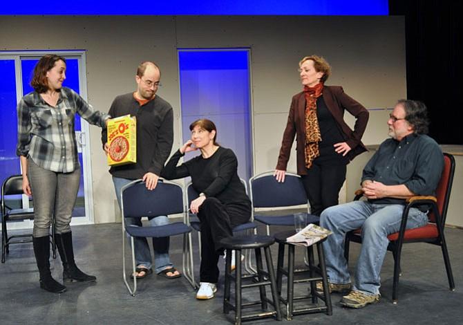 "From left - cast of the Providence Players of Fairfax ""Other Desert Cities"" in an early rehearsal: Andra Whitt (Brooke Wyeth), Bobby Welsh (Trip Wyeth), Tina Thronson (Polly Wyeth), Barbara Gertzog (Silda Grauman) and John Coscia (Lyman Wyeth)."