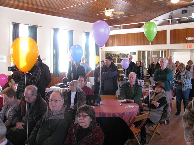 About 75 people celebrated The Grange as it came back to life Saturday, March 7 after renovations to the building and grounds, including a wheelchair lift, made the historic community center ADA compliant.