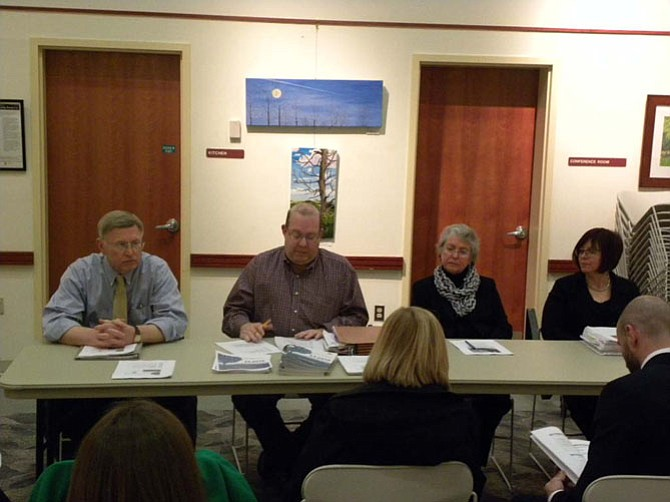 Supervisor John Foust (D-Dranesville), Joe Mondoro, county deputy director of budget, Jane Strauss, school board member and Kristen Michael, FCPS finance assistant superintendent, present the advertised FY 2016 budget to Great Falls residents on Wednesday, March 4.