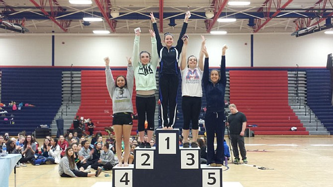 Fairfax gymnast Rachel Barborek won the all-around championship at the VHSL individual state meet on March 8 at Patriot High School. Hickory's Haley Cole finished runner-up, followed by Marshall's Morgan Stahl, Cox's Mary Munitz and Washington-Lee's Sophie Hatcher. Stahl finished second on floor (9.625) and beam (9.6), ninth on vault (9.575) and tied for 20th on bars (8.825).