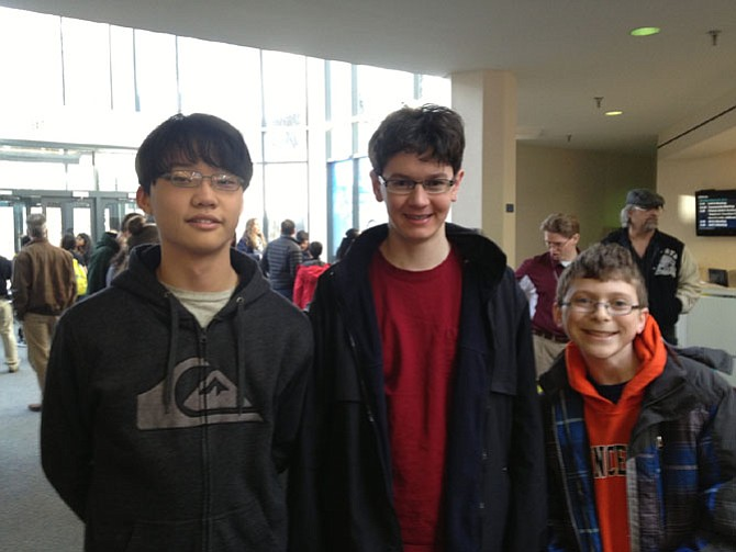 Students that represented Frost Middle School in the regional competition of the National Science Bowl. From left: Eugene Jeong, John Small and Ruben Ascoli.