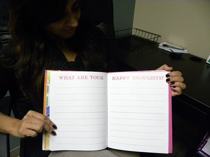 "Readers can write down their own happy thoughts at the end of Vienna writer and ophthalmologist Nisha Patel's book ""Princess Avni Gets Her Beauty Sleep."""