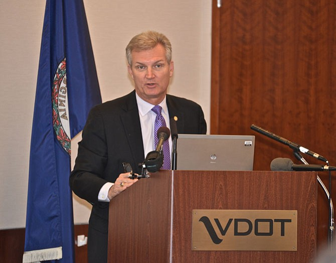 Virginia Secretary of Transportation Aubrey Layne launches the I-66 Inside the Beltway Multimodal Improvements Plan Kick-Off at the Northern Virginia District VDOT offices to a full house, of staff members, other transportation experts and administrators, elected officials and the media on March 12.