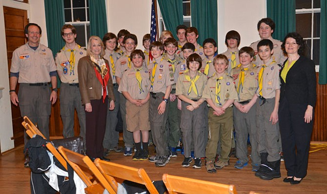 Members of Great Falls Boy Scouts Troop 673 were invited to attend the meeting. The scouts need to interact with an elected official in order to advance in their scout ranks. They pose here with their Troop Master, Glenn Prickett on the far right, and Del. Murphy, left front and state Sen. Barbara Favola, far right front.