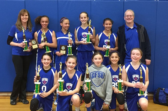 Taking home the first place trophy: The fifth grade girls reside in Great Falls, Vienna and Herndon.