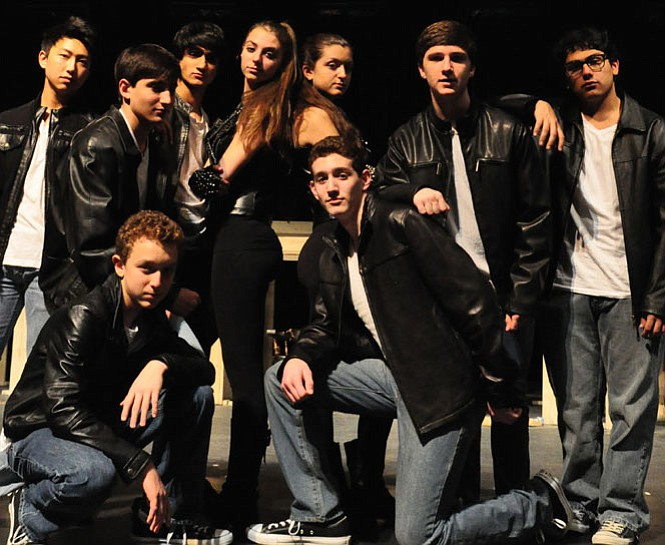 """The cast of """"Blast"""" at Churchill High School: Back row, Enoch Lee, Nick Tondravi, Govind Anand, Sloane Momsen, Mackenzie Testa, Alex Scott, Danny Espinoza; front row: Ethan Miller, Adam Newburger. This number was choreographed by Sloane and Mackenzie."""