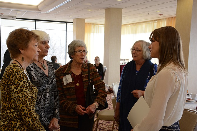 (From left) Mount Vernon residents Janice Doe, Wilda Armstrong, Dorothy Heil and Nancy Noel congratulate scholarship winner Brittney Arsenov.