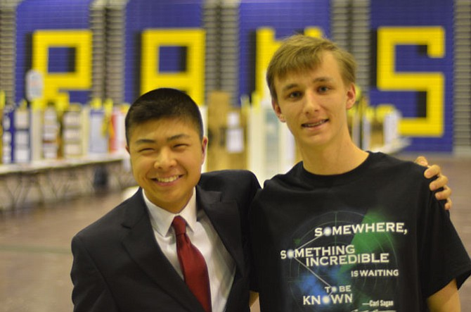 In recognition for their project at the 60th Annual Fairfax County Regional Science And Engineering Fair, Herndon High students Thomas Cecil and Brad Ho won an invitation to tour the DEA Testing and Research Lab.