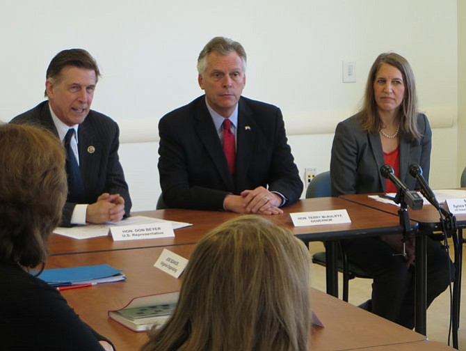 U.S. Rep. Don Beyer (left), Gov. Terry McAuliffe (center), and U.S. Secretary of Health and Human Services Sylvia Burwell (right) at a panel on the status of the Affordable Care Act.