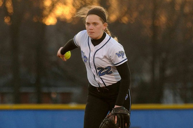 West Potomac senior Jayne Orleans re-entered and pitched the Wolverines out of trouble during their season opener on March 18.