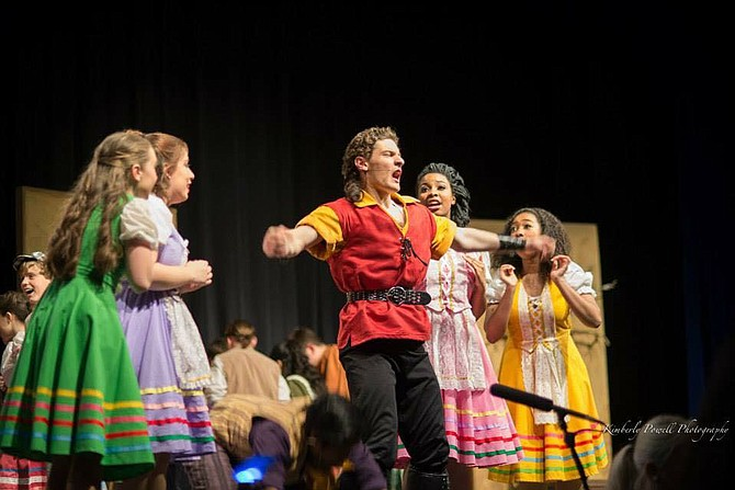 """From left:  Margot Vanyan, Gabie Nicchitta, Joshua Ewalt, Kourtini McNeil and Zainab Barry in Centreville High School's production of """"Beauty and the Beast."""""""