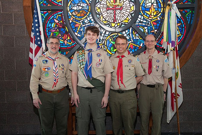From left -- Dr. Thomas Kiess, former Scoutmaster; Robert H. Bork III, Eagle Scout; Jim Thomas, Scoutmaster; John Baxley, Assistant Scoutmaster.