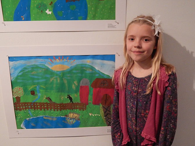 Miina Anvelt, a Colvin Run Elementary School fourth Grader and her Virginia landscape painting