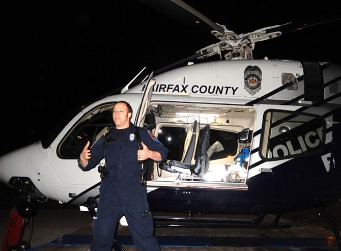 PFC Nick Taormina, a paramedic and police officer, talks about the Fairfax One helicopter.