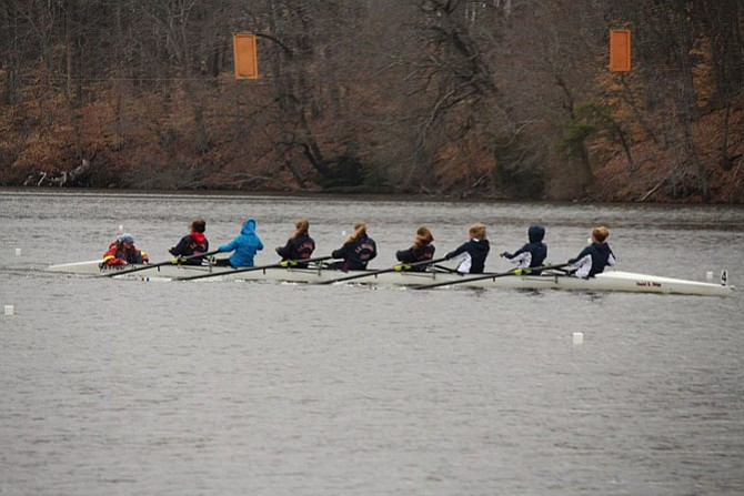 The Titans girls' freshman 8 row to an impressive victory in the March 28 Noxontown Regatta in Middletown, Del. Members of the boat include Camila Cardwell (coxswain), Hope Parsons, Grace Vannatta, Emma Carroll, Kirsten Emblom, Tess Moran, Grace Hogan, Cleo Lewis, and Rachel Sedehi.