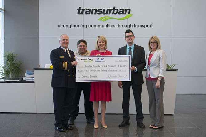 From left: Richard Bowers, Fairfax County Fire and Rescue Department Chief; Jeffrey Katz, Fairfax County Fire and Rescue Department; Jennifer Aument, Transurban Group General Manager North America; Mike Wendt, Fairfax County Volunteer Fire and Rescue Association President and Dana Powers, Fairfax County Fire and Rescue Department.