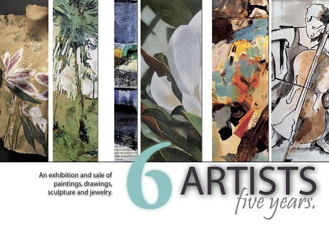 6 Artists: 5 Years  - an exhibition and sale of artwork by local artists: Jackie Elwell, Elaine Floirmonte, Debbie Glakas, Lisa Neher, Sarah Swart and Barbara Wagner, at The Frame Factory, 212 Dominion Road NE, Vienna, until May 6.