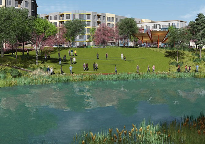 Artist's rendition showing the view across the pond to the amenity area.