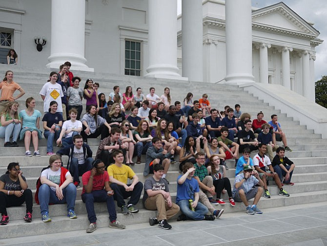 Members of the Yorktown Orchestra and Madrigals visit the State Capitol.