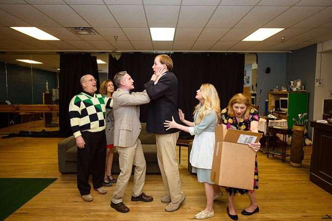 "Cast of Reston Community Players' production of ""The Fox on the Fairway."" From left: David Segal, Dina Soltan, Zell Murphy, Bradley Dressler, Stephanie Walsh, and Kelly Thompson."