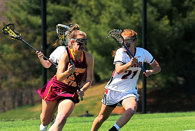 Kayla Duperrouzel and the Bishop Ireton girls' lacrosse team lost to McDonogh on April 11.