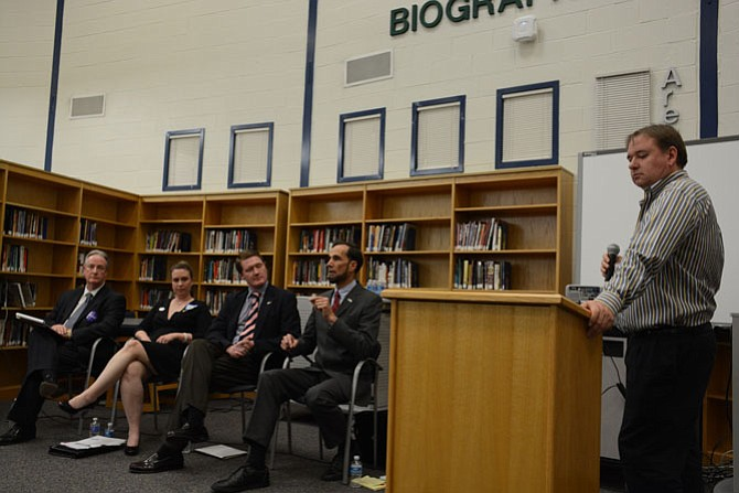 South County Federation president and Lorton resident Nick Firth (right) moderates a debate among Democratic candidates for Mount Vernon supervisor: (from left) Tim Sargeant, Candice Bennett, Jack Dobbyn and Dan Storck.
