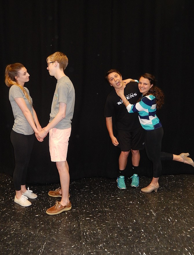 Rehearsing are (from left) love interests Emily Cervarich and Andrew Sharpe, and Keegan Garant and Shaina Greenberg.