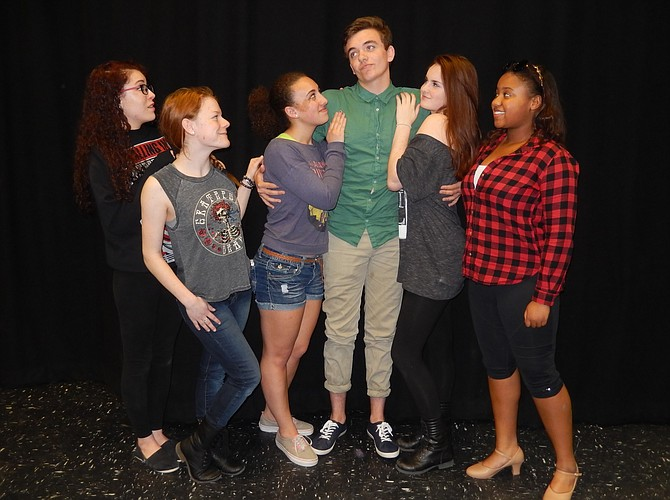 The union president with some of his admirers (from left) are Meagan Morrison, Cait Egan, Gabby Moses, Embrey Grimes, Samantha Dempsey and Casi Demming.
