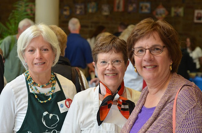 Joan Kasprowicz, Cathy Waters, and Roxanne Rice at the April Annual Empty Bowl fundraiser held at Herndon Floris United Methodist Church. Proceeds went directly to Food for Others, the largest distributor of free food to needy people in Northern Virginia.