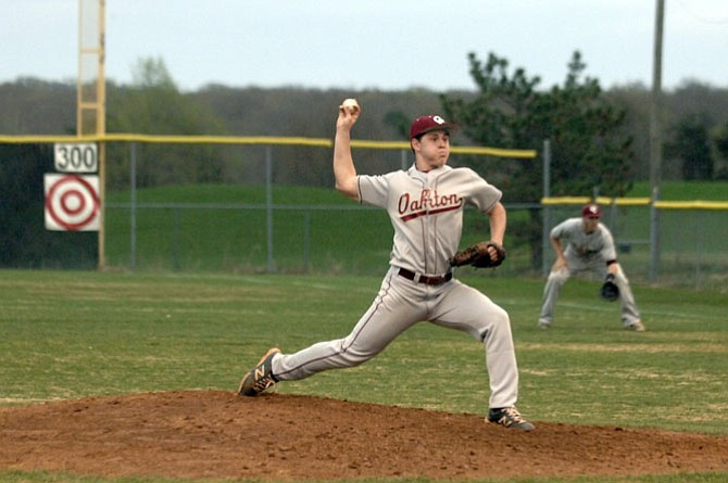 Oakton senior Connor Jones pitched a complete game against Centreville on April 16, helping the Cougars win 8-2.