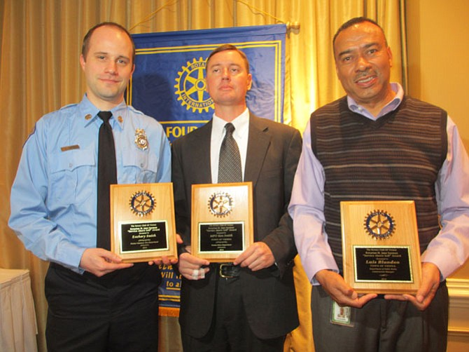 The Rotary Club of Vienna honored Firefighter/EMT Zach Smith, Master Police Officer Ken Smith, and Town of Vienna Public Works supervisor Luis Blandon with the 2014 M. Jane Seeman Service Above Self awards for outstanding contributions to their respective departments.