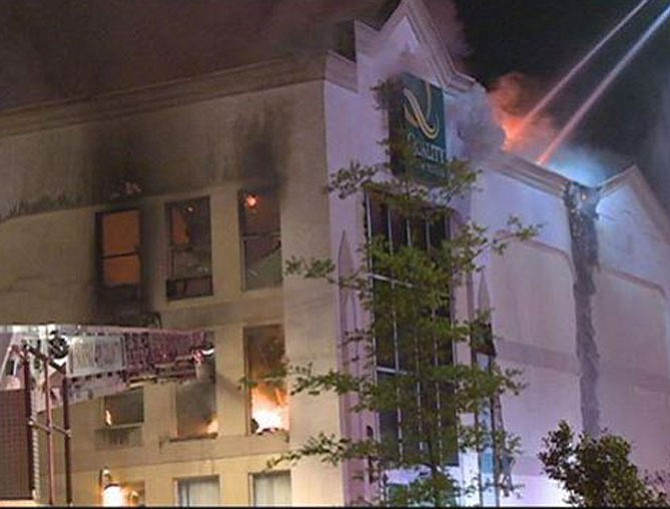 More than 100 firefighters responded to bring the hotel blaze under control.