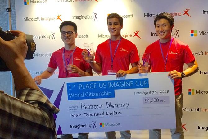 Yorktown High School Coding Club members Brandon Peck, Ji Seok Lee, and Evan Cater.