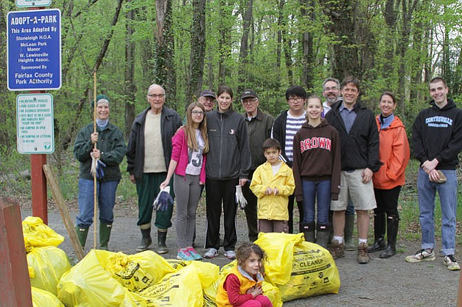 On April 25, 15 volunteers who cleaned up Saucy Branch Stream at McLean High Park near the junction of Westbury Road and Davidson Road