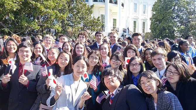 Lake Braddock Secondary School students on the White House South Lawn.