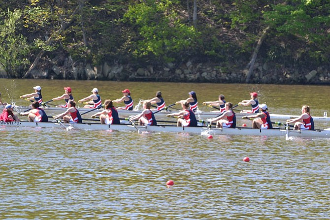 The freshman girls' 8 (forefront) won their heat and captured a silver medal in the final race. Members of the boat include Camila Cardwell (coxswain), Hope Parsons, Grace Vannatta, Madeline Gyllenhoff, Grace Hogan, Emma Carroll, Tess Moran, Cleo Lewis, and Rachel Sedehi.