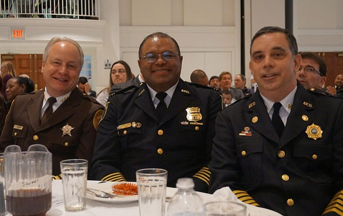 Sheriff Dana Lawhorne, Police Chief Earl Cook and Fire Chief Robert Dube at the April 30 Valor Awards.